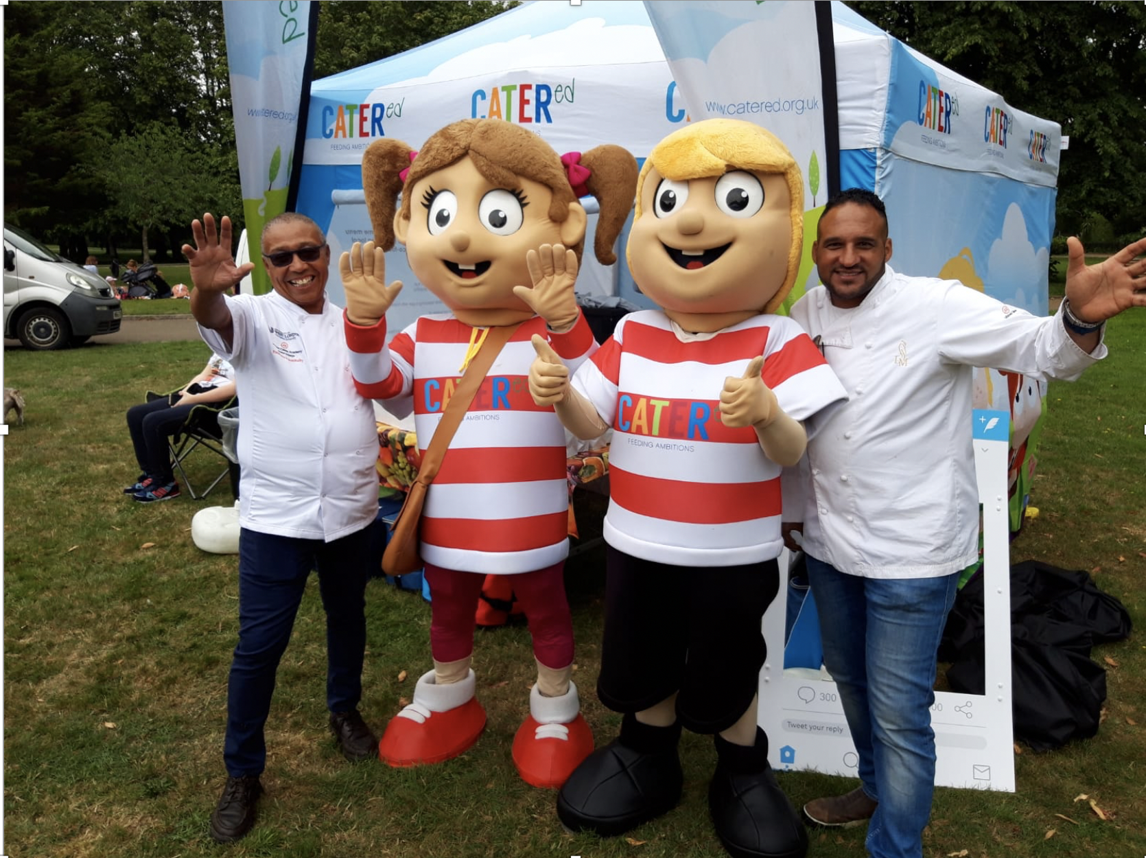 Dr Andrew Kemp MBE and Michael Caines at the CaterEd holiday hunger initiative