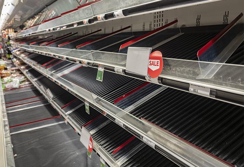 Empty shelves, food shortage